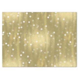 Oro soñador y boda blanco de Bokeh del confeti Papel De Seda