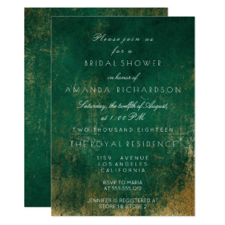 Oro sucio apenado de color verde oscuro esmeralda invitación 11,4 x 15,8 cm