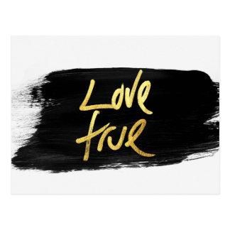 """Oro verdadero del """"amor"""" en movimiento negro del postal"""