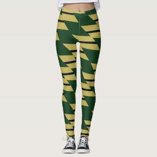 Oro verde y polainas modeladas geométricas de la leggings
