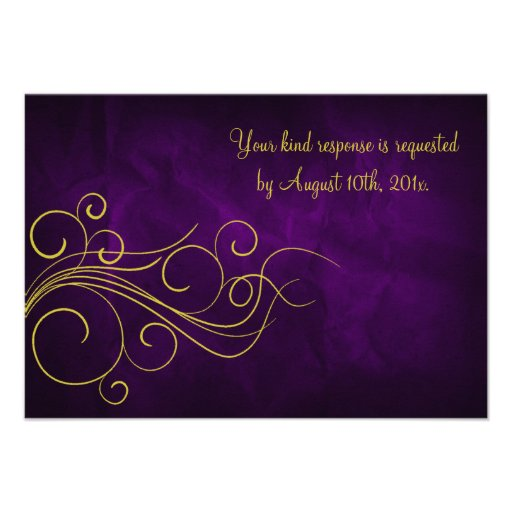 Oro violeta elegante que casa RSVP Invitacion Personal