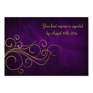 Oro violeta elegante que casa RSVP Invitación 8,9 X 12,7 Cm
