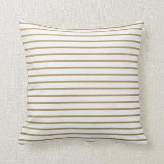 Oro y almohada fina blanca de la raya
