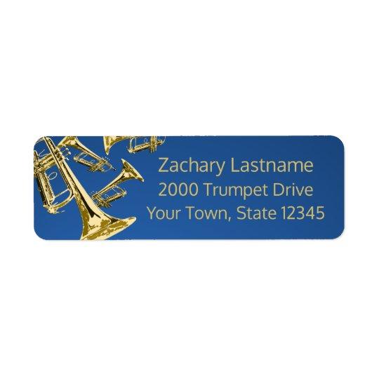 Oro y azul de la manía de la trompeta etiqueta de remitente