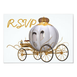 Oro y blanco de la princesa del cuento de hadas de invitación 8,9 x 12,7 cm