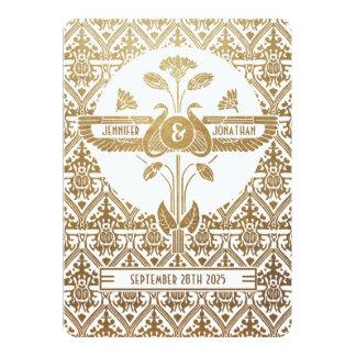 Oro y blanco de las invitaciones del boda de invitación 12,7 x 17,8 cm