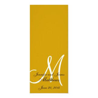 Oro y blanco del monograma del programa de la invitación 10,1 x 23,5 cm