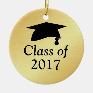 Oro y clase negra de la graduación 2017 adorno de cerámica