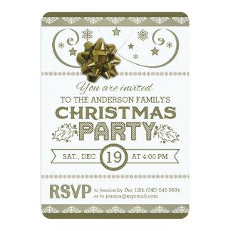 Oro y copos de nieve y estrellas blancos de la invitación 12,7 x 17,8 cm