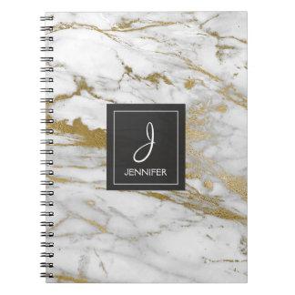 Oro y cuaderno de mármol blanco del monograma cuaderno