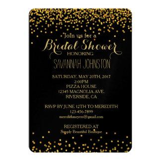 Oro y ducha nupcial de los puntos atractivos del invitación 12,7 x 17,8 cm