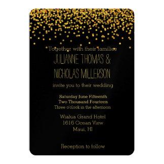 Oro y el casarse negro de los puntos del confeti invitación 12,7 x 17,8 cm