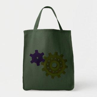 Oro y engranajes púrpuras bolsa de mano