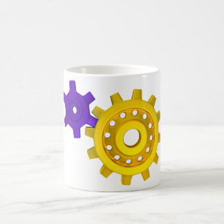 Oro y engranajes púrpuras taza
