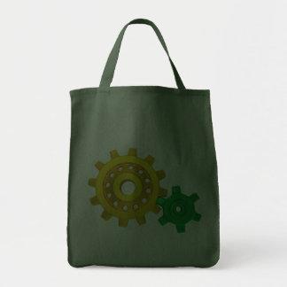 Oro y engranajes verdes bolsas