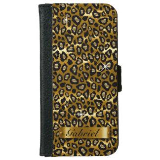 Oro y estampado de animales negro del leopardo carcasa de iPhone 6
