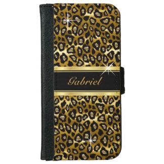 Oro y estampado de animales negro del leopardo funda cartera para iPhone 6