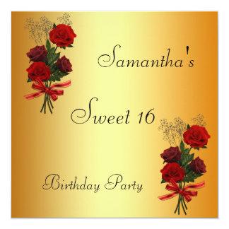 Oro y flores del dulce 16 de la invitación
