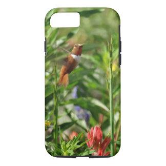 oro y flores verdes del rojo del colibrí funda iPhone 7