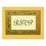 Oro y flores verdes RSVP del vintage grande Comunicados
