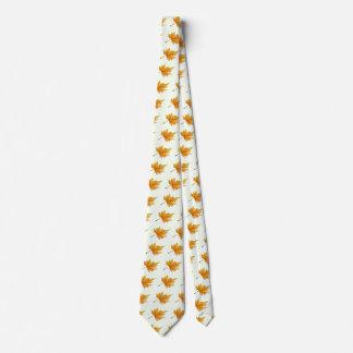 Oro y hoja de arce amarilla corbatas personalizadas
