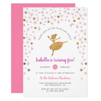 Oro y invitación rosada del cumpleaños de la