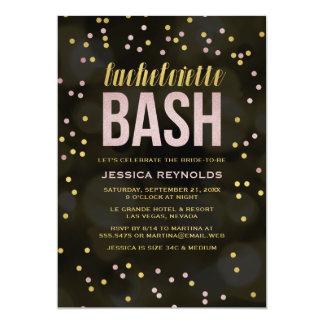 Oro y invitación rosada del fiesta de Bachelorette