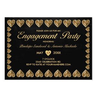 Oro y invitaciones negras del fiesta de compromiso invitación 12,7 x 17,8 cm