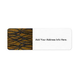 Oro y líneas negras etiqueta de remite