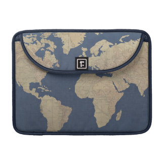 Oro y mapa del mundo azul funda para MacBook pro