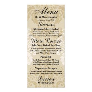 Oro y menú blanco de la recepción del damasco lona publicitaria