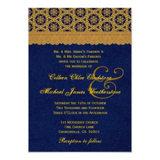 Oro y modelo de estrella retro de medianoche que invitación 12,7 x 17,8 cm