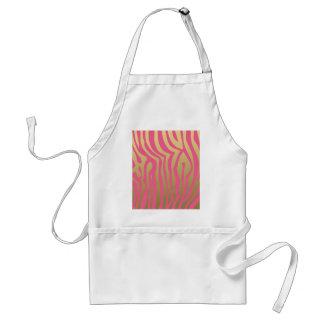 Oro y modelo rosado de las rayas de la cebra delantal
