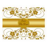 Oro y monograma floral blanco del boda postal