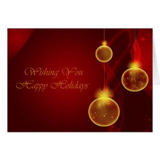 Oro y Navidad roja Tarjeta De Felicitación