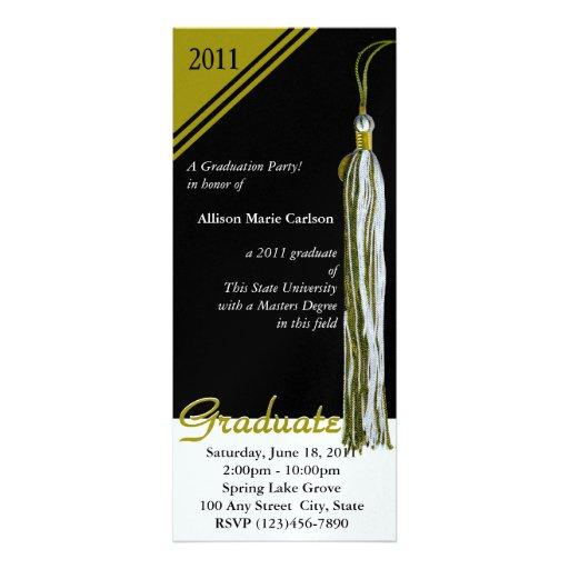 Oro y negro de la borla de la graduación invitacion personal