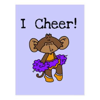 Oro y púrpura de la animadora del mono postal