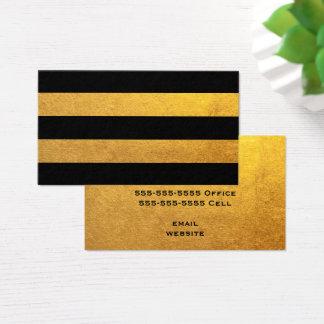 Oro y raya negra tarjeta de visita