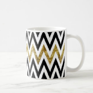 Oro y rayas negras de Chevron Taza De Café