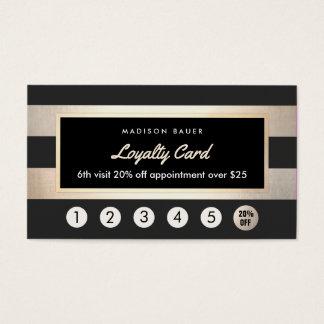 Oro y rayas negras del sacador de la lealtad 6 del tarjeta de negocios