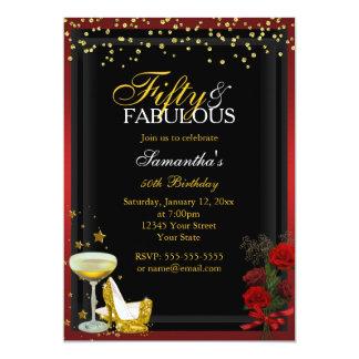 Oro y rojo 50 y invitación fabulosa del cumpleaños