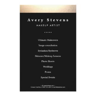 Oro y salón de belleza negro promocionales folleto 14 x 21,6 cm