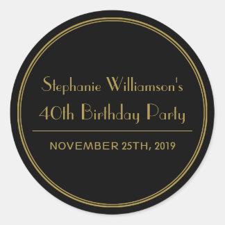 Oro y sellos negros de la fiesta de cumpleaños del