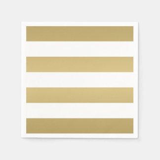Oro y servilletas rayadas blancas del fiesta servilletas de papel