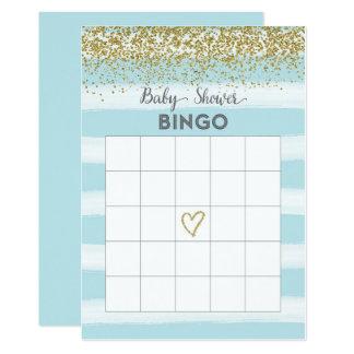 Oro y tarjeta azul del bingo de la fiesta de