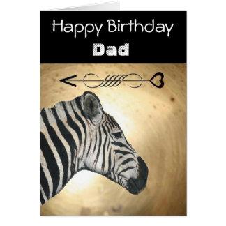 Oro y tarjeta de cumpleaños negra de la cebra para