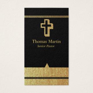 Oro y tarjetas de visita negras del pastor con la