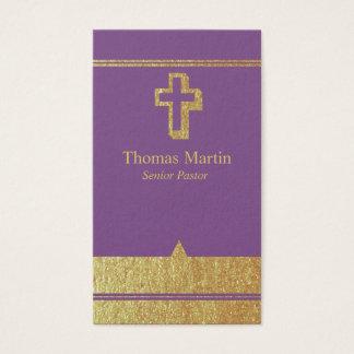 Oro y tarjetas de visita púrpuras del pastor con