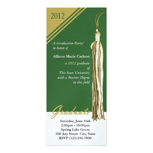 Oro y verde de la borla de la graduación comunicados