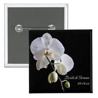 Orquídea blanca en el boda negro chapa cuadrada